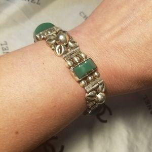 Unique Vintage TAXCO 925 Green Onyx Bracelet